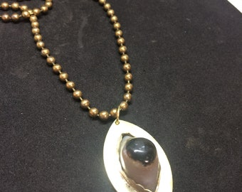Eye of Shiva Agate Third Eye Brass and Sterling Silver Necklace with Brass Chain