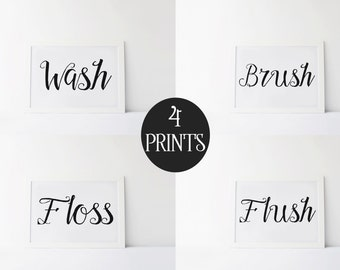 "PRINTABLE Art ""Wash Brush Floss Flush"" Typography Art Print Bathroom Art Print Bathroom Decor Bathroom Wall Art Children Bathroom Decor"