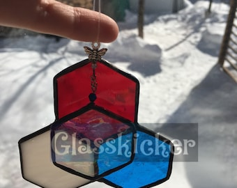 N: Bee and Hexagon 3D illusion suncatcher.