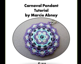 Beadweaving Pendant Tutorial Beaded Handmade Pendants Beadweaving Jewelry Making Instructions Beads Lessons Instant Download PDF