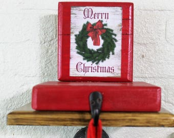 Red Mantle or Fireplace Stocking Holder