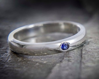 Sapphire silver ring, wedding band, sterling silver ring, flush set ring, blue stone ring, petite wedding band, dainty stone ring