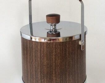 Mid Century Modern Ice Bucket Faux Wood Chrome Mad Men Barware