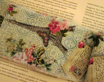 French Inspired Ribbon, Eiffel Tower Trim, French Blue Rose Trim, Floral Ribbon Trim, Vintage Inspired Ribbon, Rose Ticking Trim Ribbon ECS
