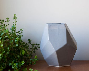 large gray porcelain ceramic geometric faceted vase