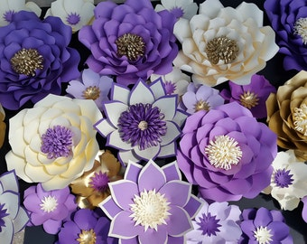 Paper Flower Wall Decor, large paper flower wall backdrop, giant paper flowers for weddings, backdrops and home decor, paper flower wall art