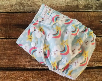 Organic One Size AI2 Cloth Diaper Happy Rainbows 10-35 lbs All in Two PUL