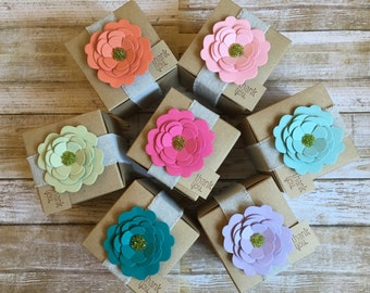 8 ~ Bridal Shower Favor Boxes, Custom Bridal Shower Favors, Paper flower favor boxes, Kraft Favor Boxes