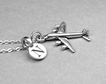 Airplane necklace, Plane Necklace, Jet liner charm, pilot gift, personalized jewelry, initial necklace, monogram letter, initial Jewelry