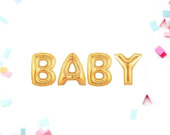 Baby Shower, Baby Shower Decor, Baby Shower Balloons, Baby Gold Balloons, , Gold Baby Balloons, Gold Baby Shower, Gold Letter Balloons