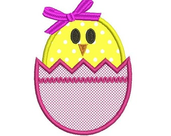 Easter egg and chick applique embroidery design