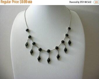 ON SALE Retro Silver Tone Black Dangling Plastic Stones Necklace 5817