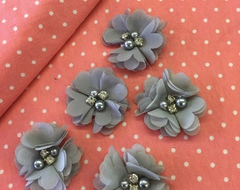 "2.5"" Silver Grey Gray Chiffon Flower with Pearl and Rhinestone Center set of 5"