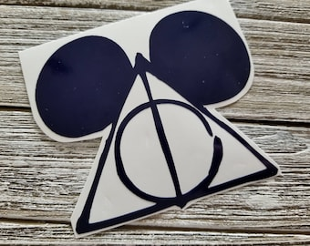Harry Potter Deathly Hallow symbol with Disney Mickey Mouse ears! Vinyl Decal for Yeti/tumbler/wine glass inspired by Disney! Great Gift!