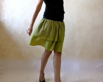 Women skirt, silk skirt, boho skirt, tiered skirt, white skirt, swing skirt, mini skirt, women clothing, hippie skirt, silk skirt, petite