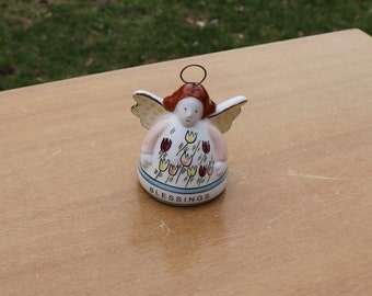 Vintage Ceramic ANGEL BELL Complete with Wings Tulip Flowers and Blessings on Her. Christmas Ornament