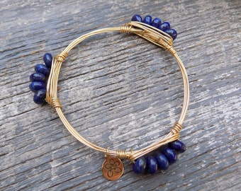 Bourbon & Boweties Inspired Bracelet. Blue Lapis Rondelle 8mm Beaded Wire Wrapped Bangle.