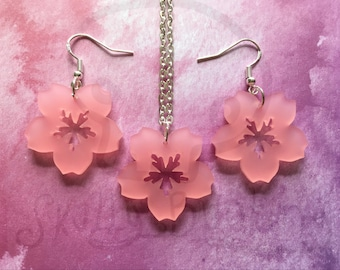 Laser Cut Pink Sakura Cherry Blossom Drop Earrings or Necklace