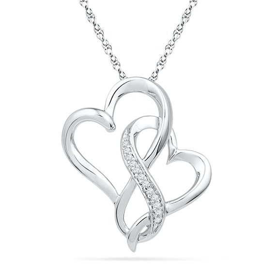 White gold entwined heart necklace diamond heart pendant on aloadofball Choice Image