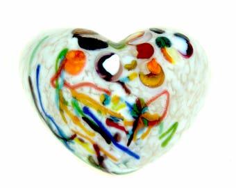 White Glass Heart.  Solid Sculpted and Cast Fine Art Glass. Paperweight.  Made in Seattle. Artist Dehanna Jones.