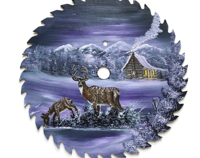 Hand Painted Saw Blade Mountain Gray Lavender Deer