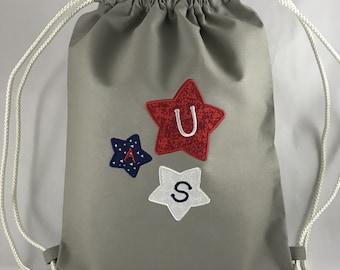 USA Stars Drawstring Bags / Personalized Drawstring Bags / Drawstring Bags