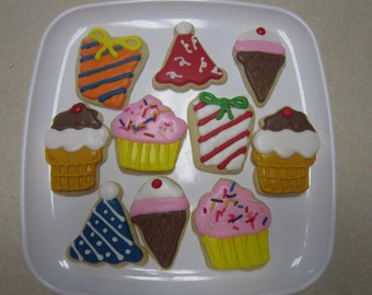 12 Party Decorated Cookies