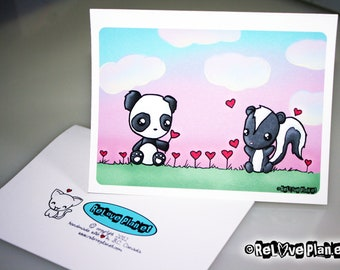 Panda Skunk Heart Flowers - Love valentines birthday anniversary congratulations anything - ReLove Plan.et Art Print