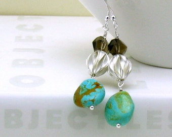 Campo Frio Turquoise  Boho  Luxe  Dangle Earrings  Sterling Silver Southwestern Drop Gift for Girlfriend Under 150 Free Shipping Gift Wrap