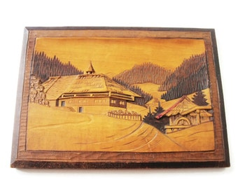 Vintage European Carved Wood Wall Panel/ Rustic Wall Art Wooden Plaque / Cabin Decor