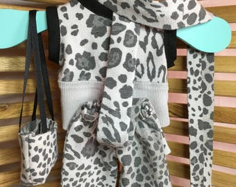 "Clothing for 18"" Dolls - Gray/Black Leopard Set"