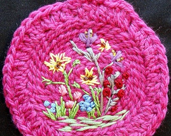 "Freehand Crewel Picture on 4 1/4"" diameter crocheted pink Alpaca wool - Handmade"