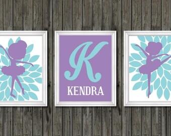 Girls nursery decor, ballerina prints, dance nursery theme, ballerina nursery decor, purple and teal, monogram nursery decor, girls decor