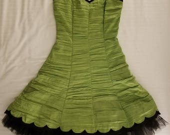 GUNNE SAX Prom Party Dress Green Black Strapless Size 5