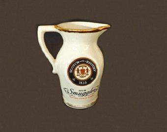 Vintage Liquor Pitcher, Old Smuggler Scotch, Pub Jug, Liquor Collectible Advertisement Memorabilia, Barware Bar Decor, Water Pitcher