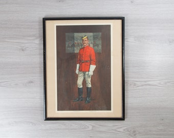 Northwest Mounted Police Lithograph - Framed Canadian Mountie 1874 First Official Uniform Print of Bearded Gentleman