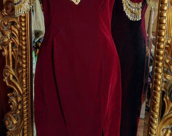 Vintage 80's My Fashion Deep Red Velvet Dress with Gold Bead Fringe