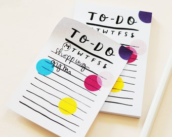 Confetti Hand Lettered To-Do List Notepad Notelet Sticky Back Post It Note Weekly Daily Organisation Diary Calligraphy Mini Desk Pad
