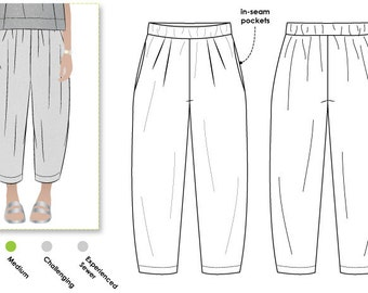 Ethel Designer Pant - Sizes 14, 16, 18 - Women's designer pant PDF Sewing Pattern by Style Arc - Sewing Project - Digital Pattern