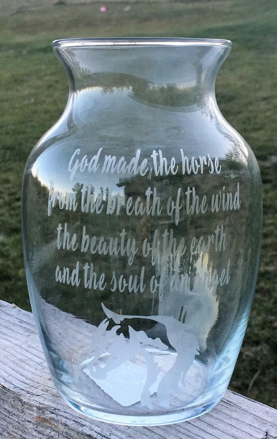 Horse Glass Etched Vase, Horse Gift, Wedding Gift, Western Wedding, Horse, Flower Vase, Candle Holder