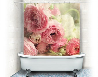 """Ranunculus Fabric Shower Curtain """"The First Bouquet"""" white, pink,bathroom,home decor,pastel flowers,nature,floral shower curtain"""