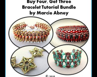 Buy 4 Get 3 FREE Beadweaving Bracelet Tutorial Bundle Beading Jewelry Making Instructions Lessons PDF Instant Download Peyote