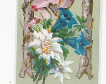 "Antique Postcard C1910 Alphabet Letter ""M"" Unused,Pink Blue & White Flowers,Unused"