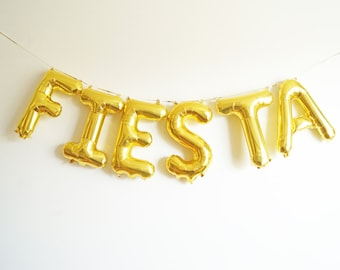 "16"" FIESTA letter balloon banner - cinco de mayo - gold blue pink rose gold silver - Air Fill balloons"