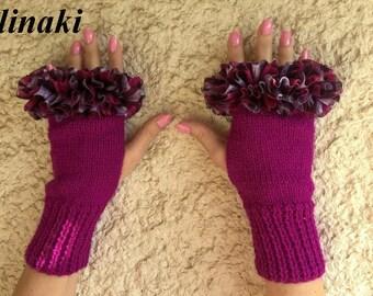 Knit Fingerless Gloves Purple Fuschia Frilled