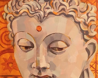 BuddhaLove in Saffron, Original Oil Painting by Bridget Hobson, 9x12 inches, free domestic shipping