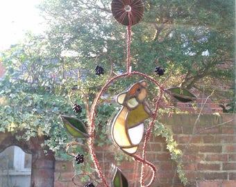 Stained glass wood/feild mouse Art Nouveau black berry thief
