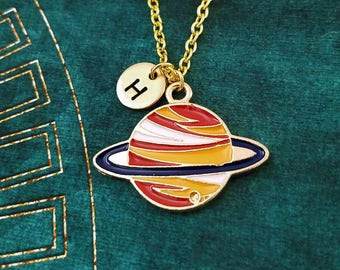 Saturn Necklace Saturn Charm Necklace Saturn Jewelry Science Jewelry Planet Jewelry Astronomy Gift Astronomer Personalized Initial Necklace