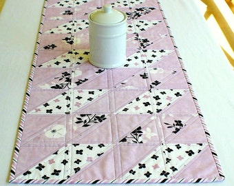 Quilted Table Runner, Lavender Black White, Table Quilt, Floral Table Topper, Quiltsy Handmade