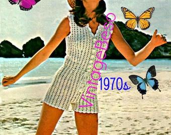 Romper Crochet Pattern Vintage 1970s Beach Romper Shorts Hot Pants Ladies Summer Wear Bohemian Summer Playsuit INSTANT Download Pdf Pattern